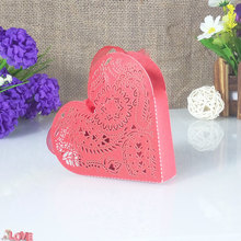 50 pcs laser cut love shape candy box gift Christmas Halloween party supplies baby shower 5ZT52