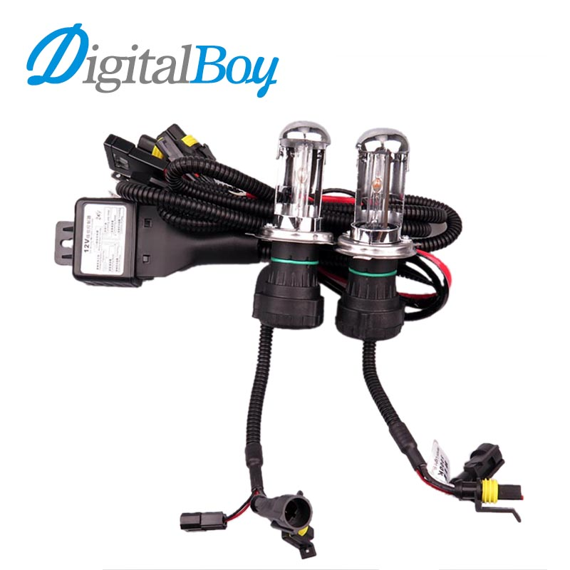 Digitalboy 55W H4-3 Bi Xenon Car Headlight HID Replacement Hi/Lo Xenon Bulb Lamp with Wire for 5000K 6000K 8000K Car Lighting 75w xenon h1 hid replacement lamp bulb headlight lights lighting car source headlight for hunting lights 4300k 6000k 8000k