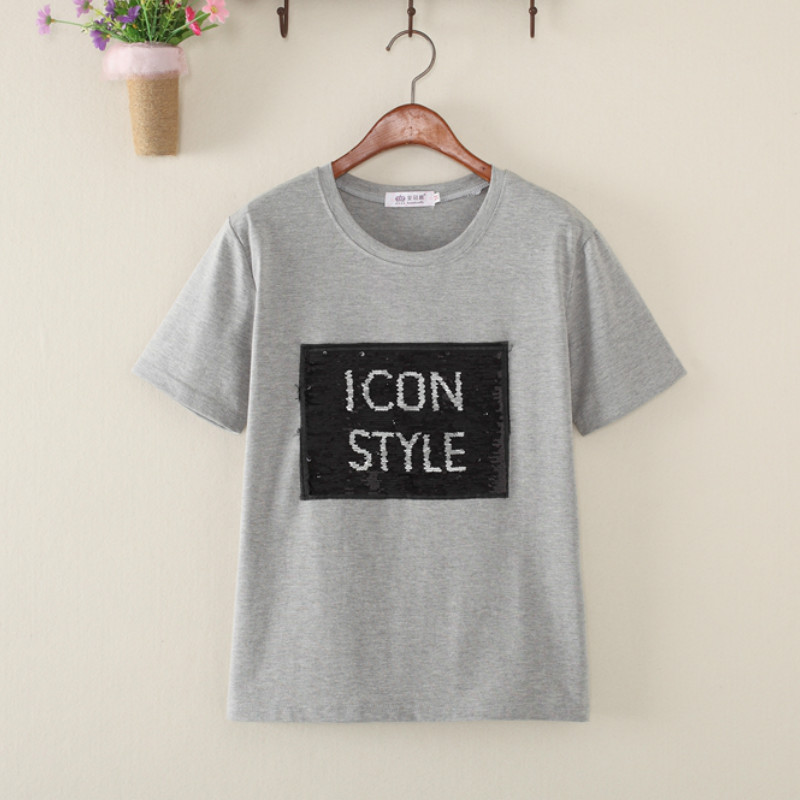 Cute Graffiti Reversible Sequins ICON Style Letters beads Shirt magical  color changing sequins Tees T-shirt Discoloration Tops 2d6b623b87bf