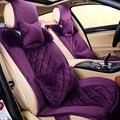 Lo nuevo 2016 invierno cálido felpa corta mujer púrpura fundas de asiento de coche universal fit para nissan para hyundai para vw buick para kia