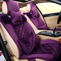 Newest 2016 winter warm short plush  women purple car seat covers universal fit for nissan for hyundai for vw for buick for kia