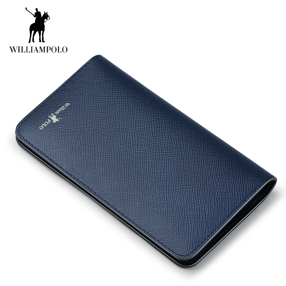 WILLIAMPOLO New Mens Wallet Genuine Leather Bifold Short Wallets Card Holder Slots Pocket Ultra Slim Saffiano Multi Card Purse