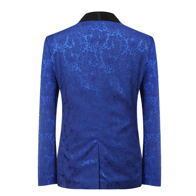 YFFUSHI 2018 Brand Men Suit 3 Pieces Luxury Blue Jacquard Tuxedo - Herrkläder - Foto 3