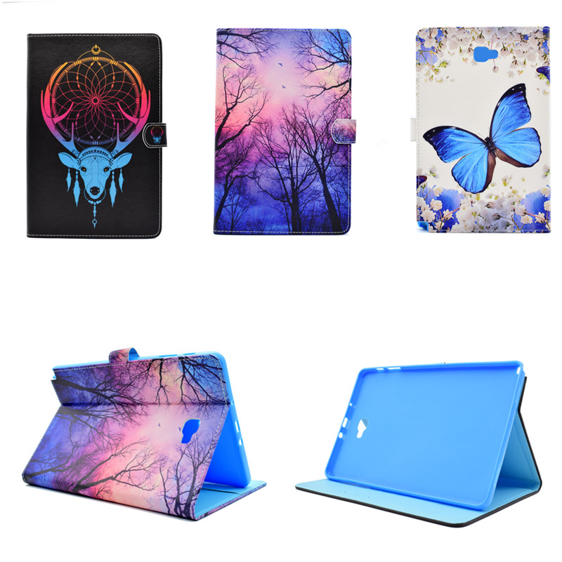 Cute Painted Ultra Slim Stand PU Leather Wallet Case Tablet Cover for Samsung Galaxy Tab A  A6 10.1 T580 T585 T580N T585C long sleeve forest pattern crew neck sweater