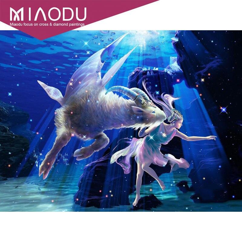 Miaodu 5D Diy Diamond Painting Family Personality Decoration capricorn 12 Constellations Full Square Wall Sticker Rhinestone(China)