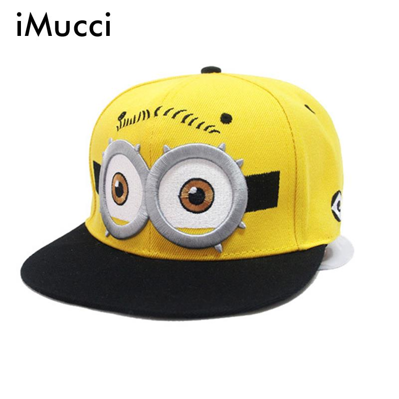 iMucci Baseball Cap Children Gorras Yellow Cartoon Casquette God Steal Dads Film Minions Canvas Flat Snapback Hip Hop Hat fashion real friends hat women men letter baeball cap snapback casual hip hop dad hats casquette gorras