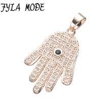 Modo fyla encantos de luxo cubic zirconia micro pave zircon pingente de mão hamsa para ligação colar de mulheres acessórios de jóias