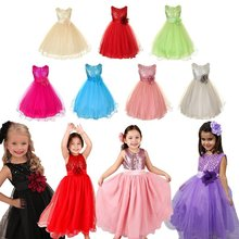 Baby Dresses Toddler Girls Wedding Costumes Sequin Flower Bowknot Birthday Party Tutu Dresses 2019 New Girls Vestido Outfits