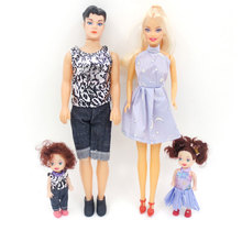 Happy Doll Family 4Pcs/Set Happy Family Pack Removable Joints Ken Prince Baby Doll Boyfriend Toy Gifts Kawaii Playmate For Kids