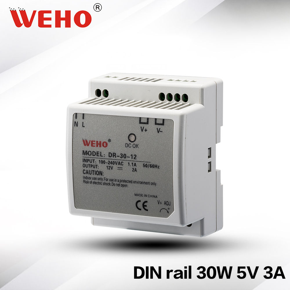 (DR-30-5) 85-264VAC input 30W 5VDC DIN Rail Single output power supply 3A 5V 30W power supply Din Rail