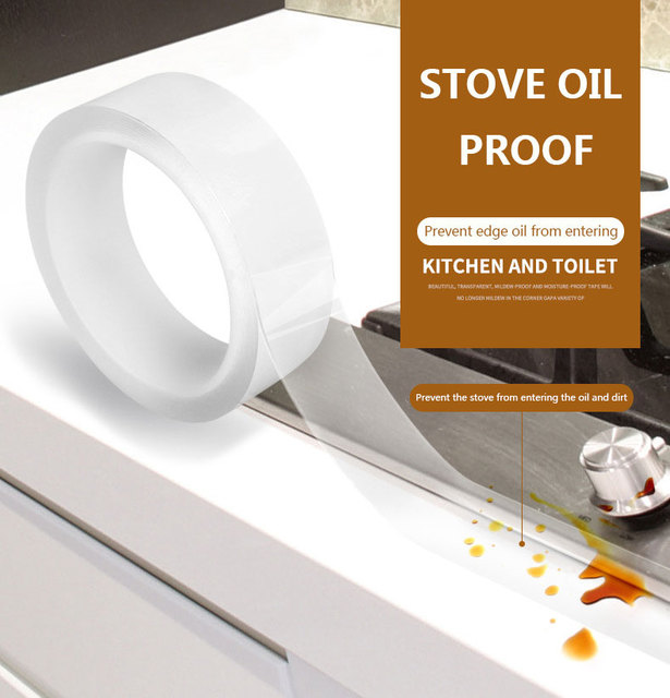 Pia da cozinha Mofo À Prova D' Água Forte Auto-adesivo Fita Adesiva Transparente Banheiro Banheiro Lacuna Canto Linha Tira Selo adesivo de Parede