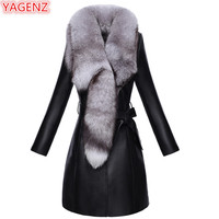 YAGENZ Plus size Leather Jacket Women High quality Faux Leather Jacket Winter Fur Coat Fox Fur Collar Coat Quality Assurance 602