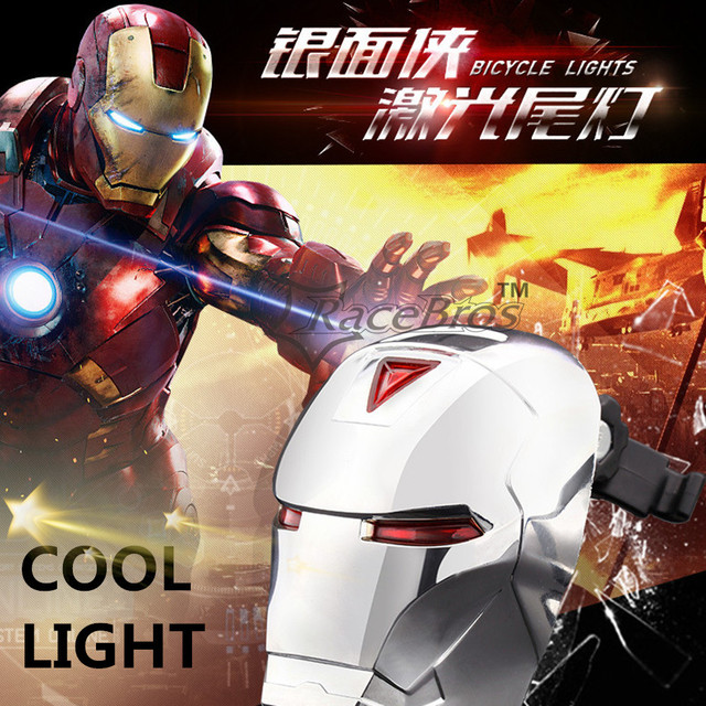 b8fcab10c36625 Night Riding Bicycle accessories Iron man laser tail light rear 3LED 7Mode bicycle  light Waterproof bike light Red green blue