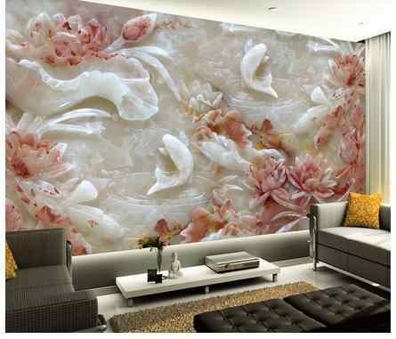 ที่กำหนดเองวอลล์เปเปอร์ 3 d ขนาดใหญ่หยกแกะสลักภาพจิตรกรรมฝาผนัง lotus ความละเอียดสูง reliefs การตั้งค่าทีวี wall papers ห้องนั่งเล่น decor