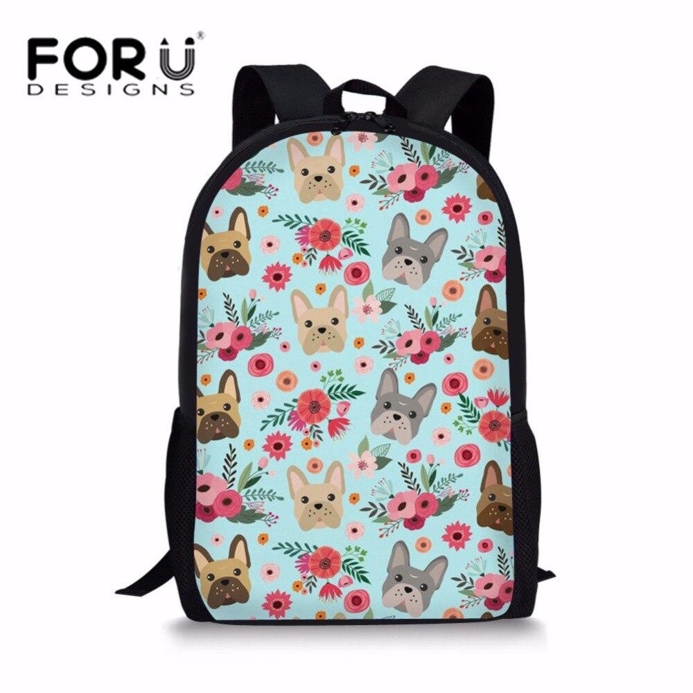 FORUDESIGNS/милые дети, школьные сумки рюкзак бульдог печати сумка для девочек элегантное школьный Bookbags студентов Softback