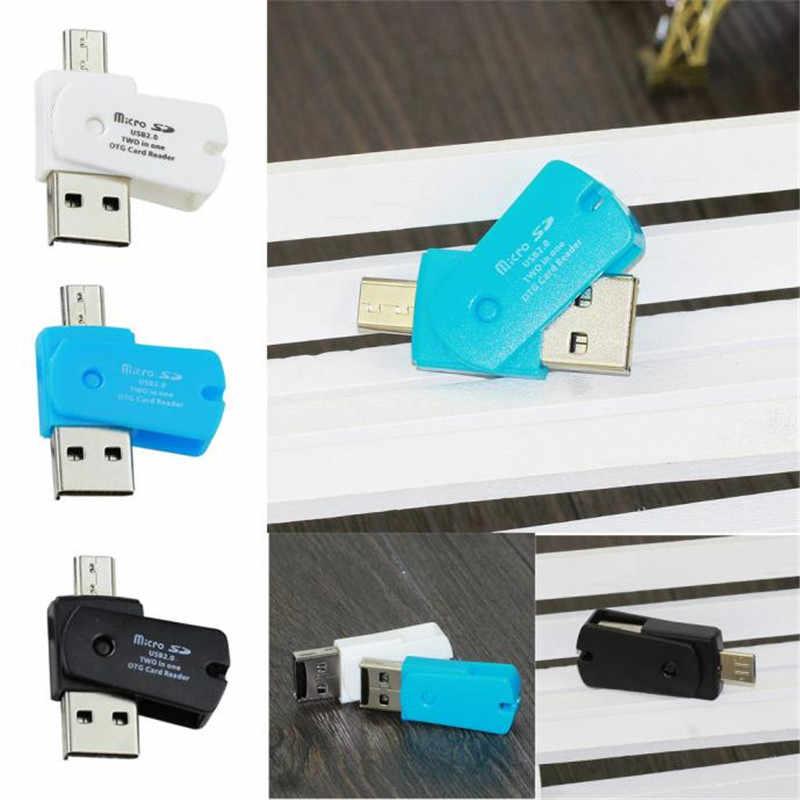 3 ألوان البسيطة المصغّر USB 2.0 وتغ محول + مايكرو SD TF قارئ بطاقات لالروبوت الهواتف Exteral المحمولة USB قارئ البطاقات SD Suppion