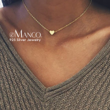 eManco 925 Sterling Silver Necklace Heart Necklace Gold Color Chain Pendant Choker Necklace For Women Fine Jewelry Drop Shipping(China)