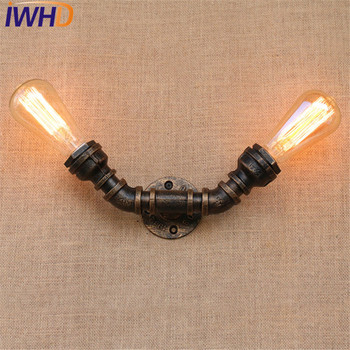 IWHD Loft Style Industrial Vintage Wall Lamp Edison Wall Sconce Double Water Pipe Wall Light Fixtures Home Lighting E27 Bulb