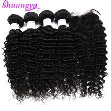 hot deal buy  brazilian hair weave bundles with closure deep wave bundles with closure free/middle virgin human hair bundles with closure