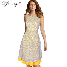 Vfemage Women Celebrity Elegant Sexy V Back Floral Lace Slim Tunic Work Business Casual Party Tea Swing Skater A-Line Dress 6533(China)