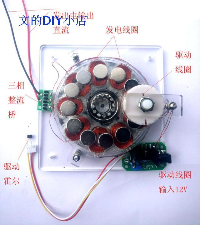 Coreless generator, brushless motor, disk generator, with, power, supply