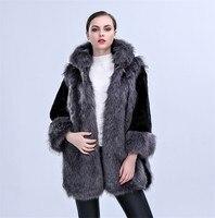 2017 Winter Faux Fox Fur Coat Women Hooded Solid Casual Warm Coat Nine Sleeve Hot Sale