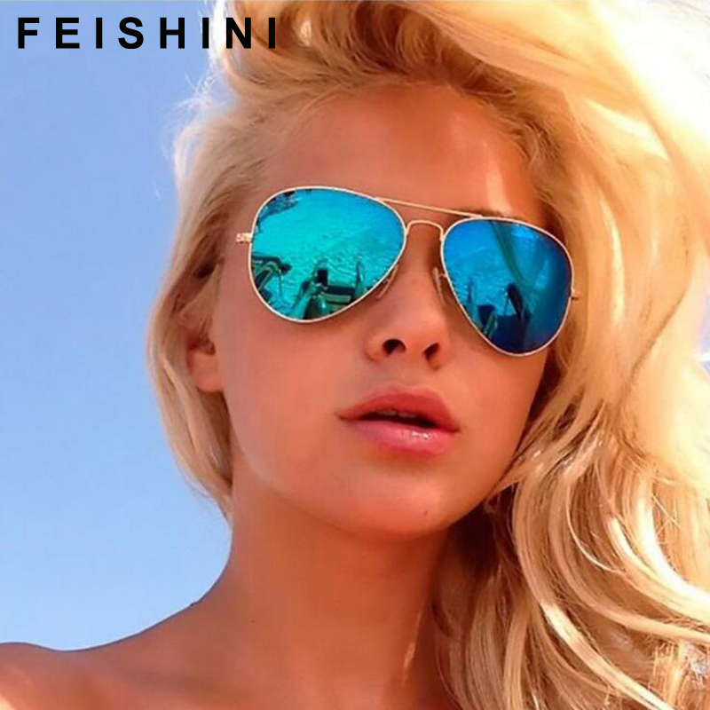 Image 2 - FEISHINI Brand Advanced 16g Stainless Steel Pilot Sunglasses Men Polarized Driving Clear Mirror Sunglass Women UV Protection-in Men's Sunglasses from Apparel Accessories