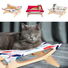 NEW Square Mat Four-pointed Cat Hammock Wooden Removable And Cat Climbing Frame Warm Puppy Kennel Nest Cushion Pet Products(China)