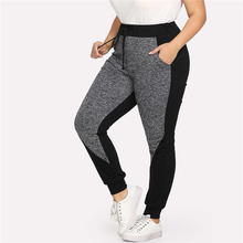 Women's Sport Plus Size Black and Gray Drawstring Fitness Pants