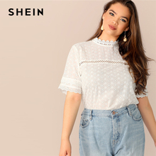 SHEIN Boho Plus Size White Contrast Lace Insert Schiffy Stand Collar Plain Top Blouse Women 2019 Spring Casual Top Blouses