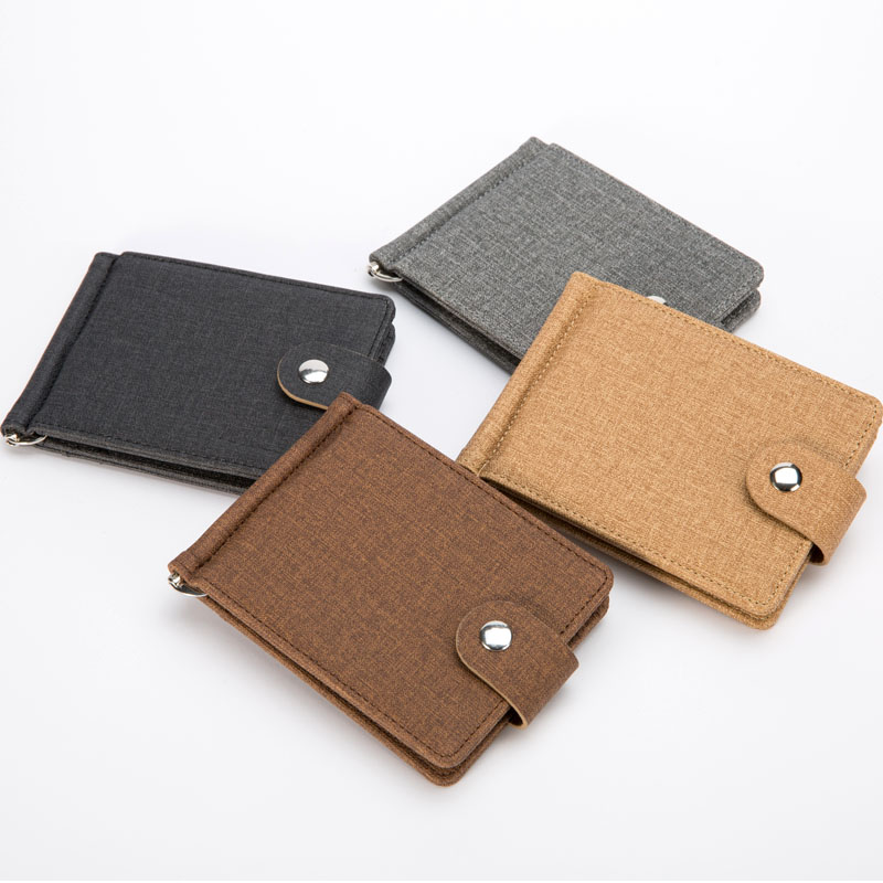 New Fashion Mini Linen Men's money clip wallet credit card slots for man slim purse with hasp 4 colors