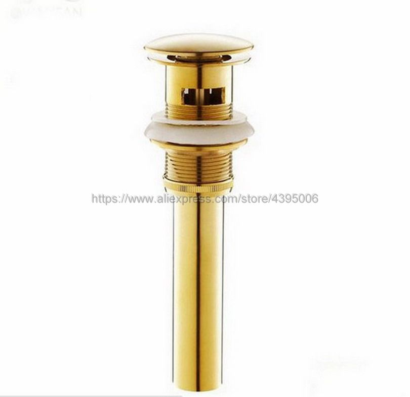 Luxury Gold Color Brass Bathroom Pop Up Drain Basin Tap Sink Drain Waste With Overflow Bsd023 brass clawfoot drain with overflow bathtub drain pop up wastes bath filler waste