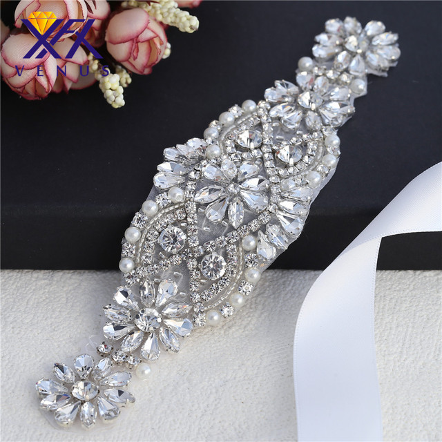 XINFANGXIU 1 pc Beaded cheap elegant crystal rhinestone appliques for bridal  dress shoes bags DIY top-end fashion clothsing . a06ea84985ed