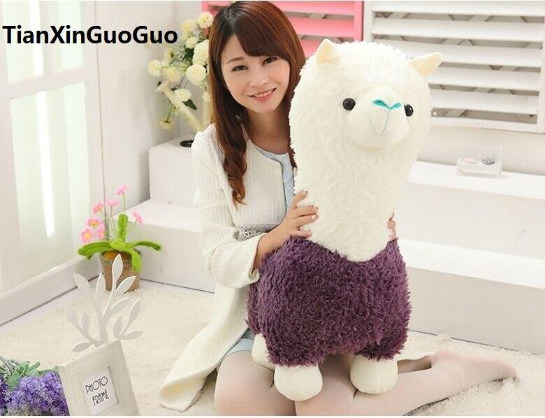 Peluche grand 65 cm dessin animé violet alpaga mouton en peluche, doux oreiller cadeau d'anniversaire h2970