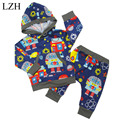 LZH Baby Boys Clothes Set 2017 Spring Autumn Newborn Boys Clothes Robot Printing Hoodie + Pants 2pcs Outfit Suit Infant Clothing
