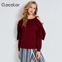 Clocolor Women Knitted Sweater And Pullover Hollow Falbala Sleeve Women Autumn Winter Outwear 2017 Fashion Drop