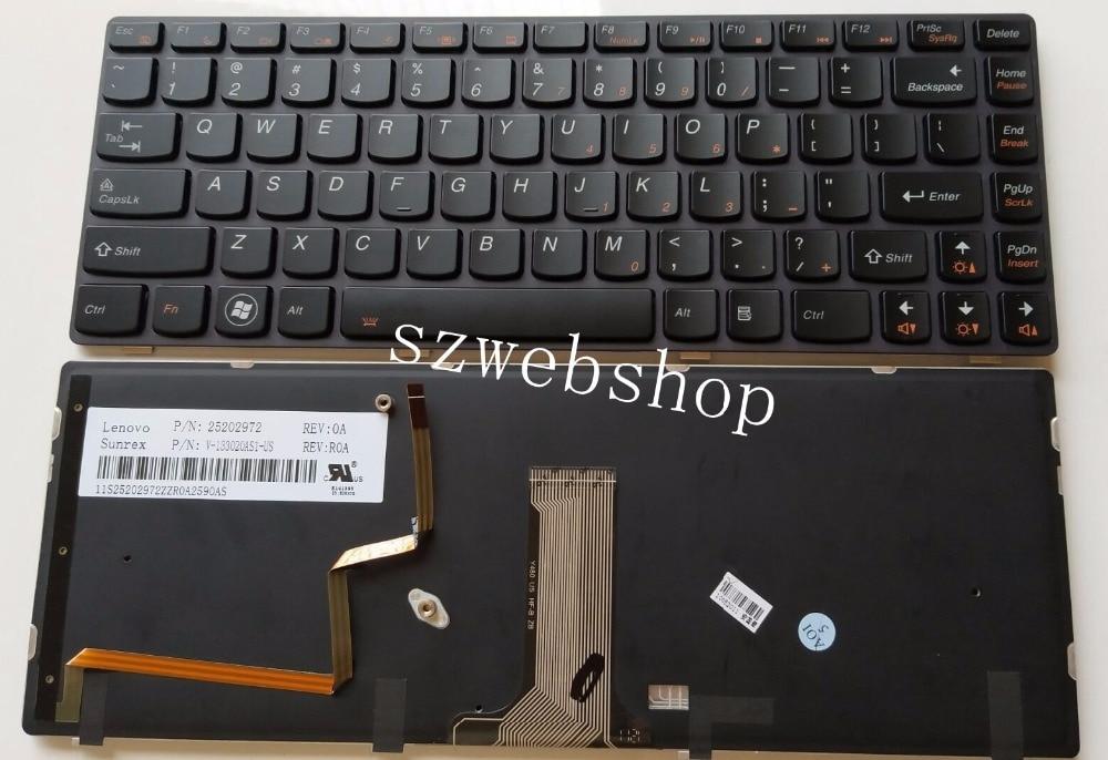 New For Lenovo Ideapad Y480 Y480A Y480N Y480M Y480P Y485M Y485N Y485P Series US Keyboard Backlit Black 25202972 V-133020ASI-US