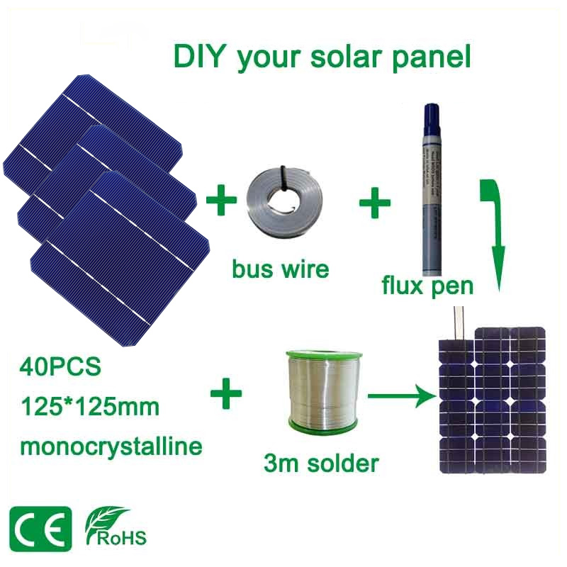 BOGUANG 100W DIY Solar Panel Charger Kit 40Pcs Monocrystall Solar Cell 5x5 With 20M Tabbing Wire 2M Busbar Wire and 1 Flux Pen hot sale 100w diy solar panel kit 5x5