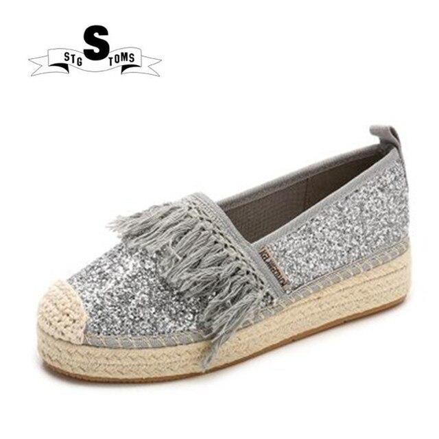 603f610bdd US $28.85 |Women Flats Canvas Tassel Shoes Woman Slip On Loafers Woman  Platform Shoe Silver Gold Rhinestone Espadrilles Walking Shoes -in Walking  ...