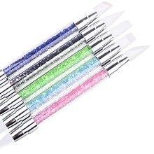 New1pcs  Nail color Art Sculpture Pen Brushes Soft Silicone Carving Craft Polish Rhinestone Handle Nail Art Brush Dotting Tools