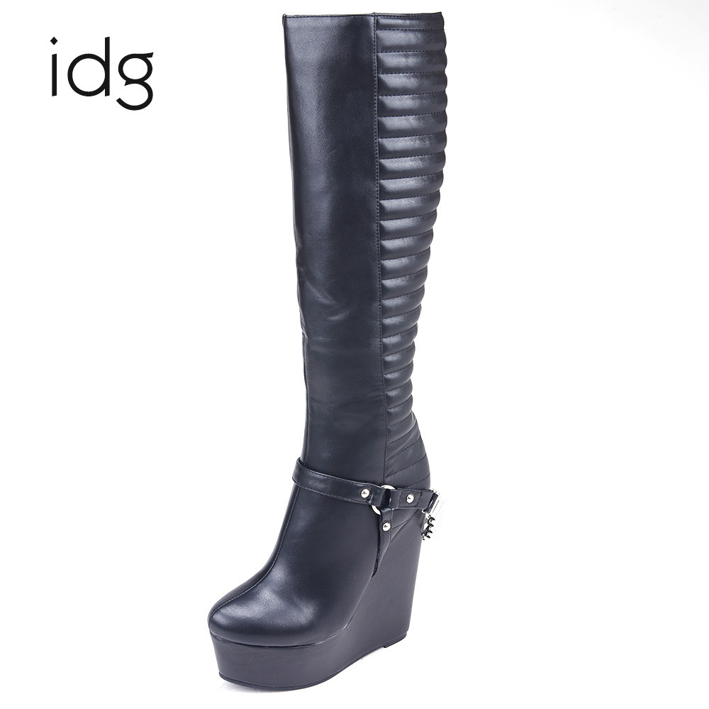 Idg Brand Long Tube Leather women High Heels Woman Boots Winter Plus Short Plush Keep Warm bota feminina idg brand women slip on high heels short rough with the fall and winter metal buckle rivets shoes woman zapatos mujer tacon
