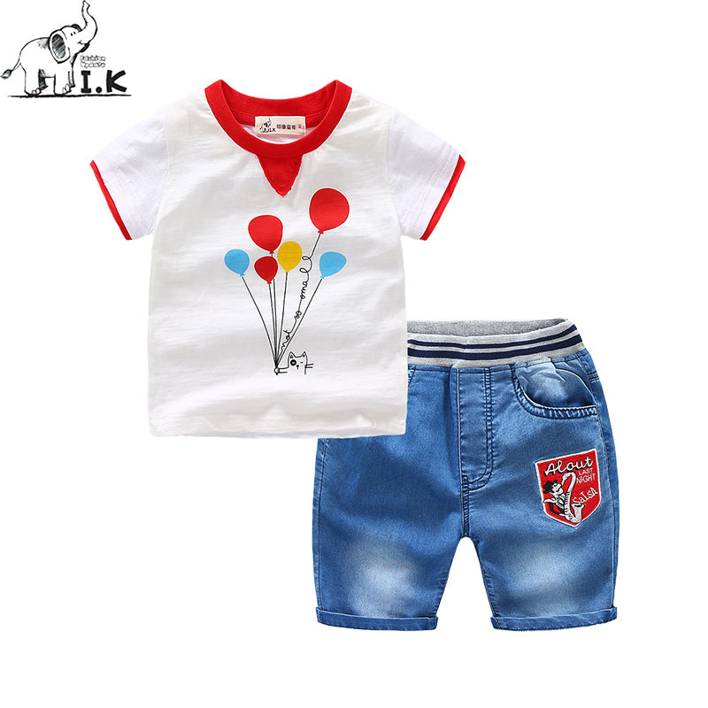 I.K Children Suits For Boys 2017 Summer Cotton Kids Clothing Fashion Short Sleeves Shirt+Jean Pant Balloon Printing 2-6Y A1024 boys soccer uniform 2017 summer wear short sleeved shirt quick drying fabric football suits children s clothing baby