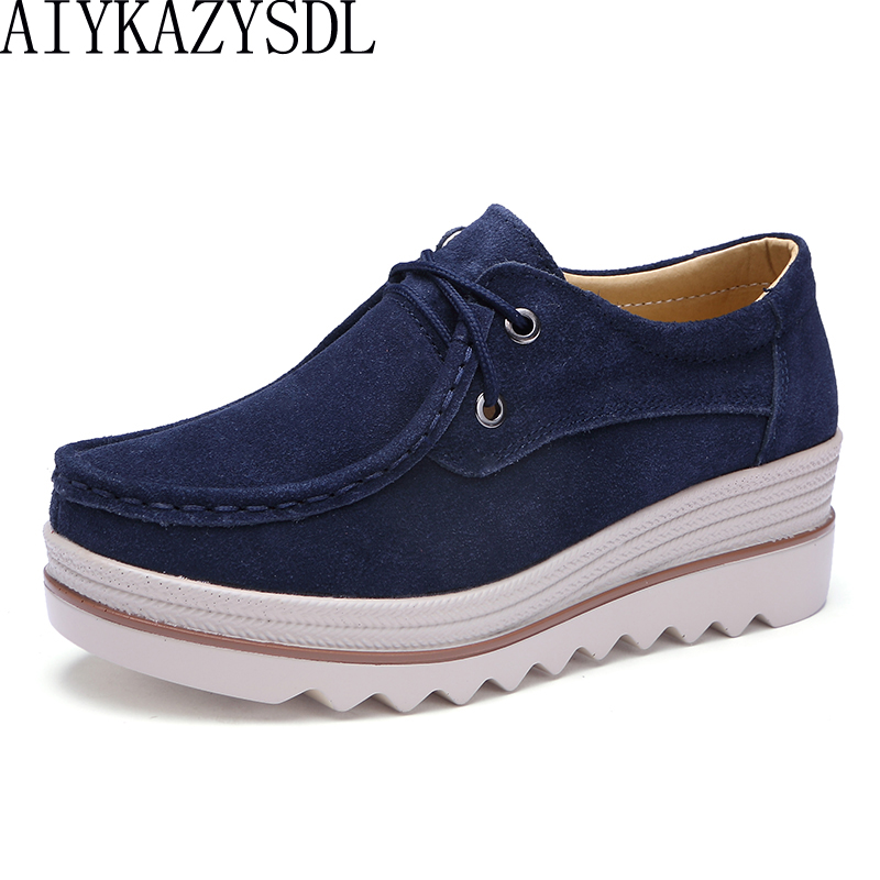 AIYKAZYSDL 2018 Autumn Women Casual Flats Genuine   Suede     Leather   Platform Sneakers Lace Up Thick Sole Bottom Creepers Wedge Heel