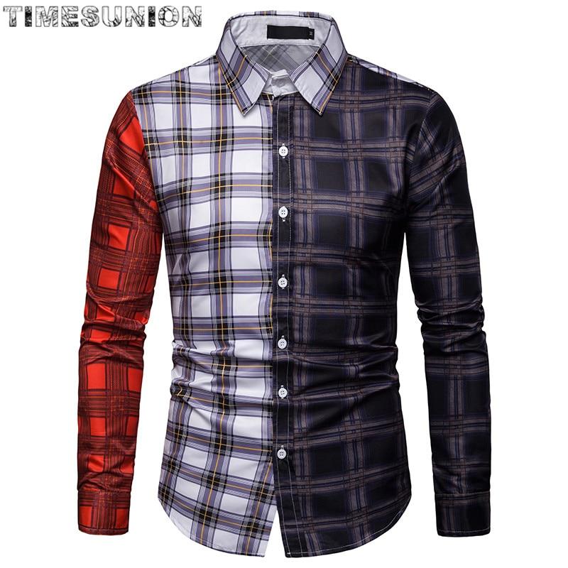 Mosaic Grid Men Shirt High Quality Social Men's Plaid Dress Shirts Long Sleeve Formal Soft Business Casual Oxford Shirt