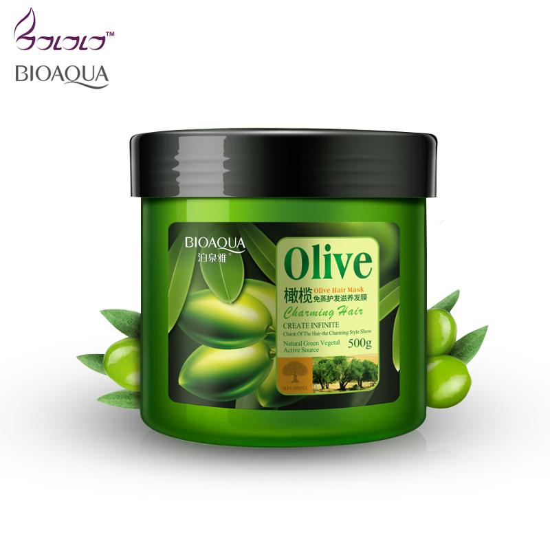Bioaqua 500g Hair Care Mask Natural Olive Nutritious Moisturizing Deep Repair Frizz Damaged Dry treatment Smooth Hair Masks new 1x boqian 800ml unisex ginger juice conditioner hair mask nutrition hair moisturizing cream repair dry damaged hair care bq27