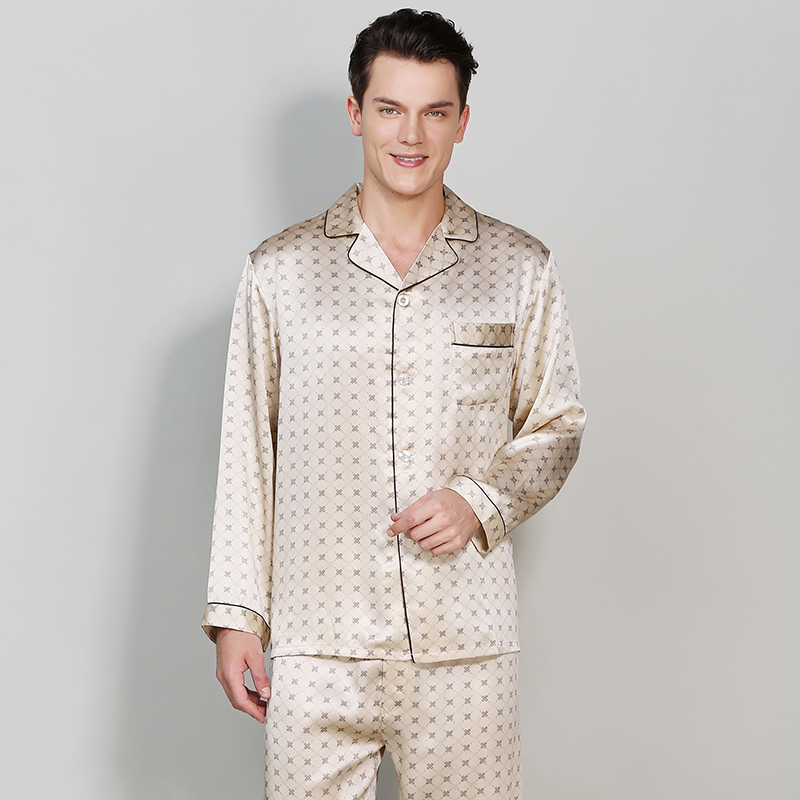 Fashinon Men 100% Silk Homewear Nightshirt 2019 New Autumn Summer Soft Silk Satin  Long Sleeve Sleepwear Pajamas Sets Plus Size