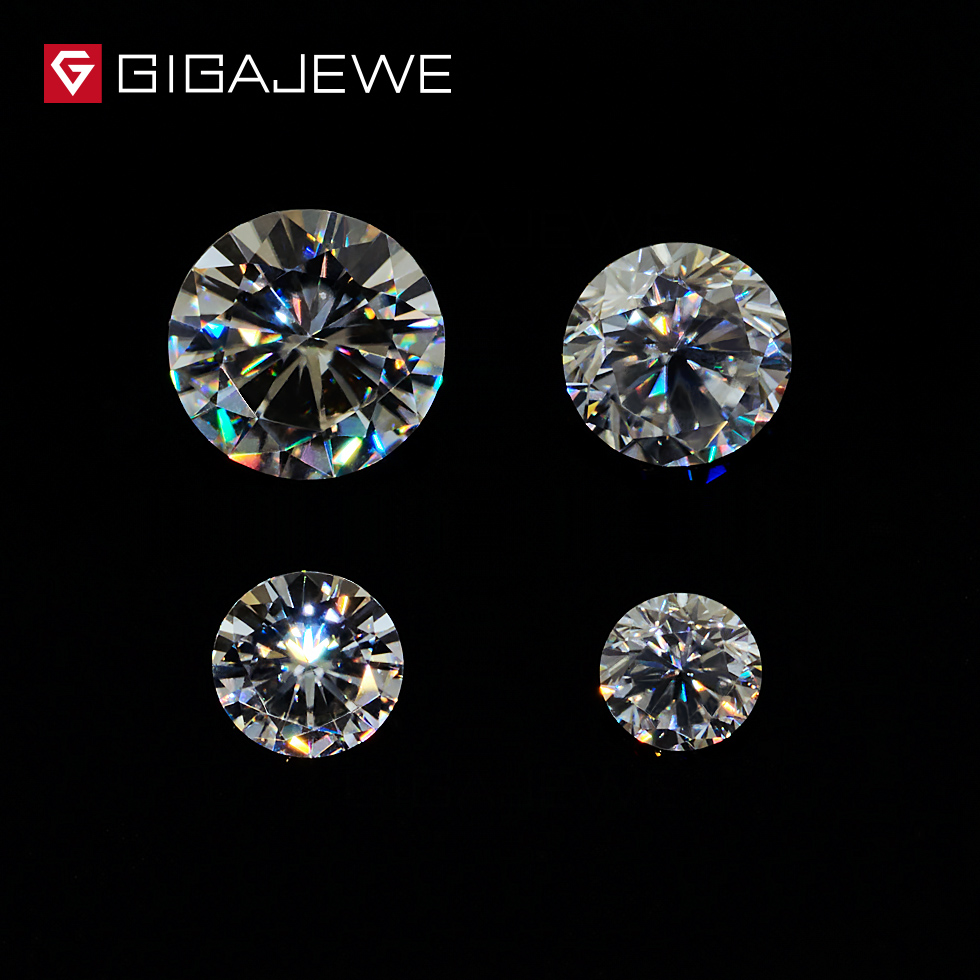 GIGAJEWE 0.8ct Carat 3.5mm-6mm G Colorless Round Brilliant Cut Moissanites Stone Lab Charms DIY Beads for jewelry making