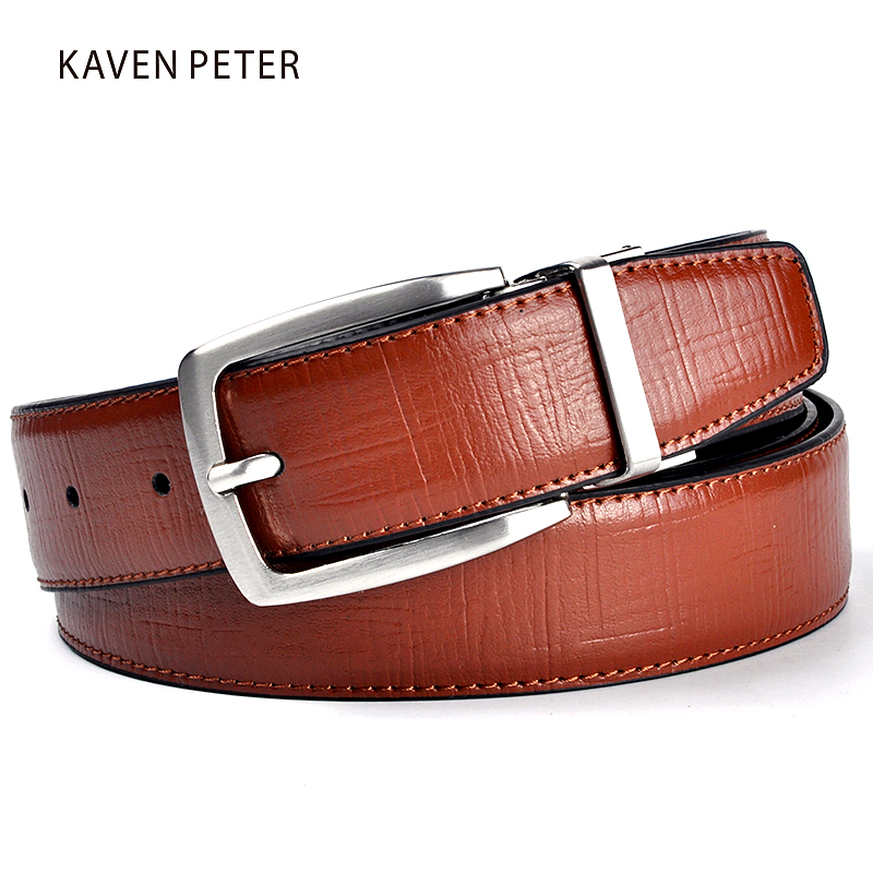 New Men Belt Läder Luxury Brand Designer Berömda Äkta Läder Märke Luxury Belts Brown Byxor Herr Äkta Läder
