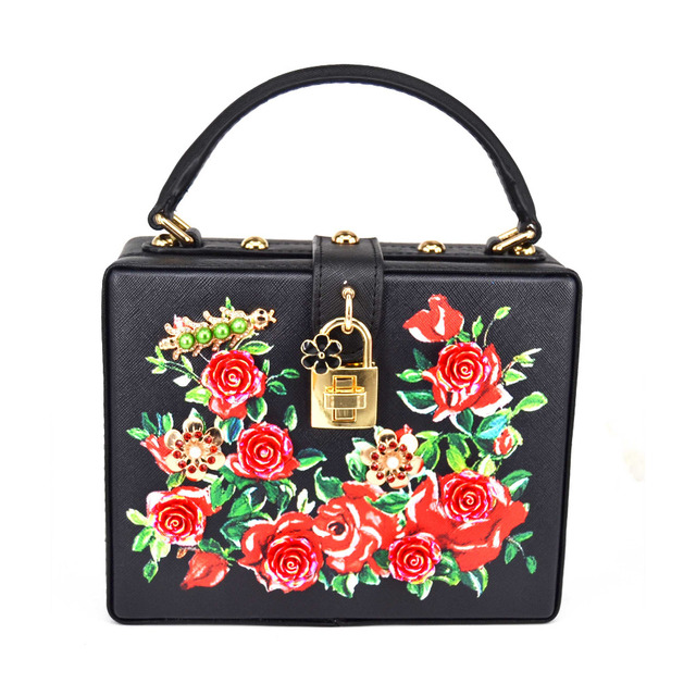 Black Pu Red Flower Fashion Mini Tote Handbags Box shape lock Clutch Bag  Both sides Print Floral Evening Party Purse Women bag