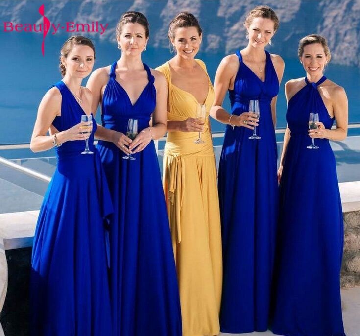 Beauty Emily One Dress with different Style One-Size Bridesmaid Dresses A-Line V-neck Vestido De Festa Long Party Prom Dress